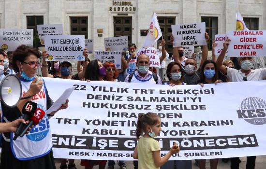 Haber-Sen İstanbul Radyo Evi önünden TRT'yi protesto etti